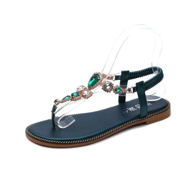 Tongs pour femmes sandales plates d'été femme strass talons bas chaînes de cristal string gladiateur slip sur sandales