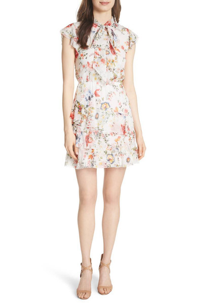 2018 French Print Floral Print Cap Sleeves Crew Neck Chiffon Tiered Lady Ribbon Bowknot Mini Dresses Women Dress MBL716 A*O Spring Summer