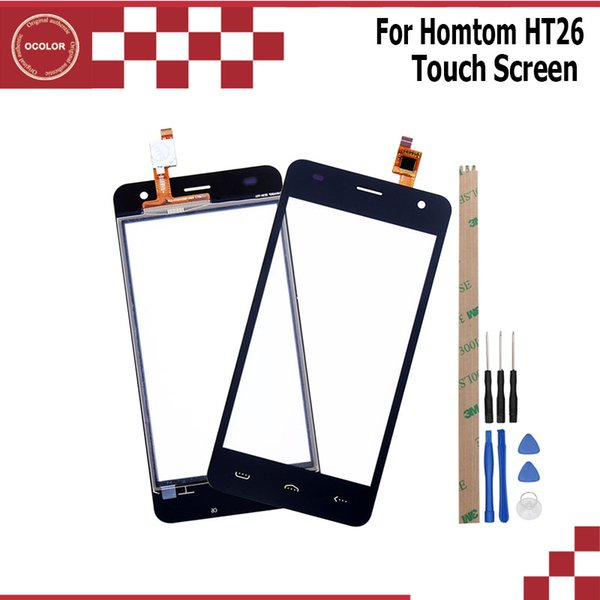 ocolor For Homtom HT26 Touch Panel Touch Screen Digitizer Sensor Replacement For Homtom HT26 Mobile Phone With Tools +Adhesive