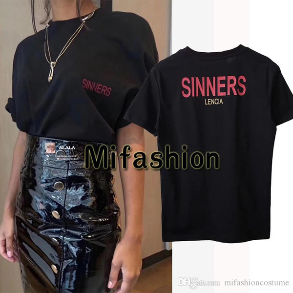 a8dd54f15 18ss Luxury Europe Milano Paris High quality Oversize Tshirt Fashion Men  Women Sinners Golden Print T