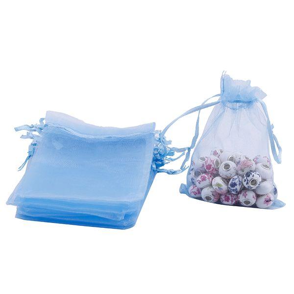 100Pcs 120*100mm Organza Drawstring Gift Jewelry Bag Pouch Light Blue CHIC