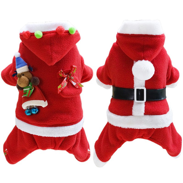 Dog Christmas Clothes Dog Santa Costume with Hat Fancy Dress Cosplay Costume Small Dog Clothes for pet