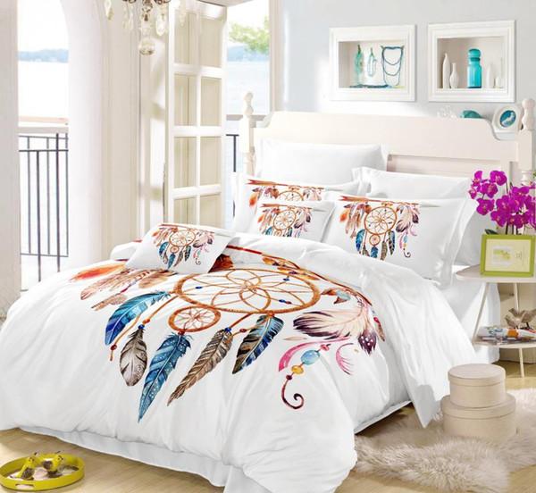 3Pcs Moon Dreamcatcher Bedding Set Queen Size Feathers Duvet Cover White Bed Set Beautiful Bedclothes pillowcase SJ130