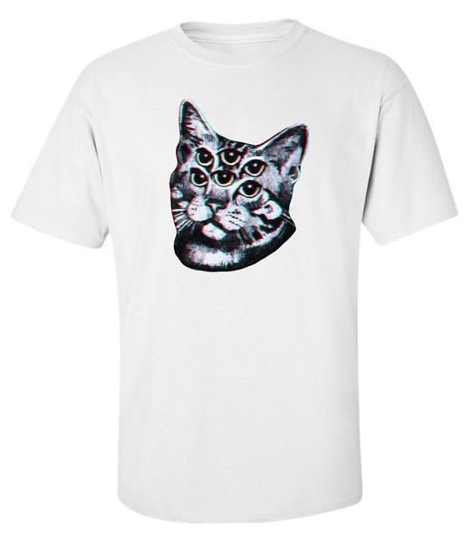 Halluzination Katze Vintage verschwommen Stil Weiß gedruckt Baumwolle Herren T-Shirt Top 2018 neue Herren T-Shirt