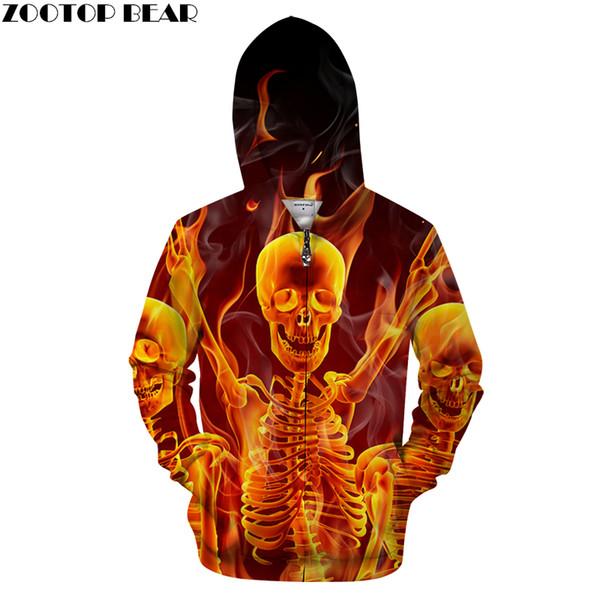 Fire&Skull 3D Zip Hoodie Men Zipper Hoody Casual Sweatshirt Male Tracksuit Pullover Funny Coat Streatwear DropShip ZOOTOPBEAR