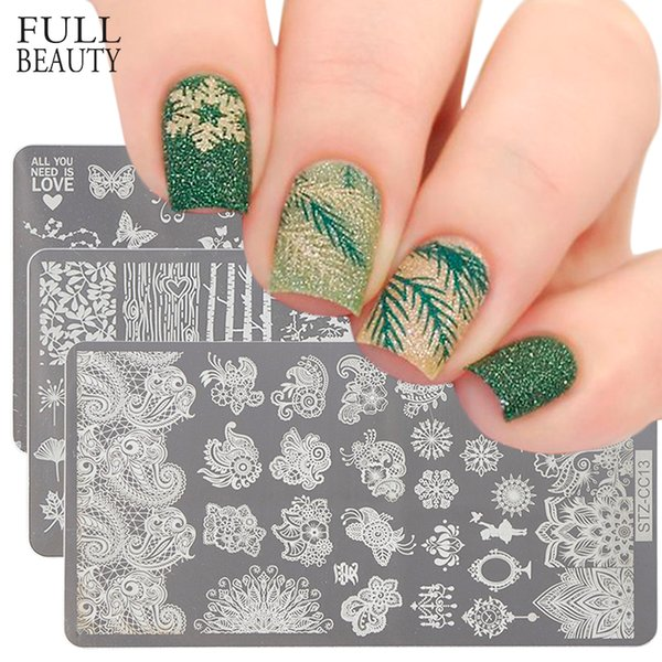 Rectangle Nail Stamping Plate Flower Cat Catcher Geometry Design For