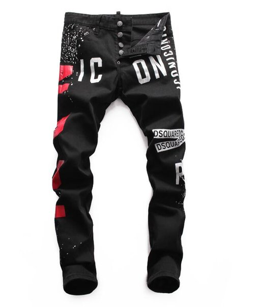 Jeans pour hommes debout en Europe, jeans pour hommes, jeans skinny et crânes brodés noirs # 002