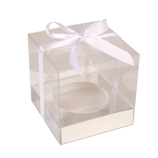12pcs Wedidng Cupcake Box Clear Pvc Transparent Cake Boxes With Base Inside Wedding Party Gift Box And Cake Packaging Sliver