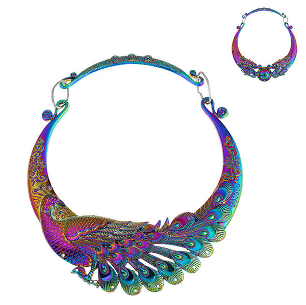 Cholers Jewelry 2018 New Arrival Fashion Vintage Women Exaggerated Colorful Plated Alloy Peacock Dragon Necklaces Wholesale SN897
