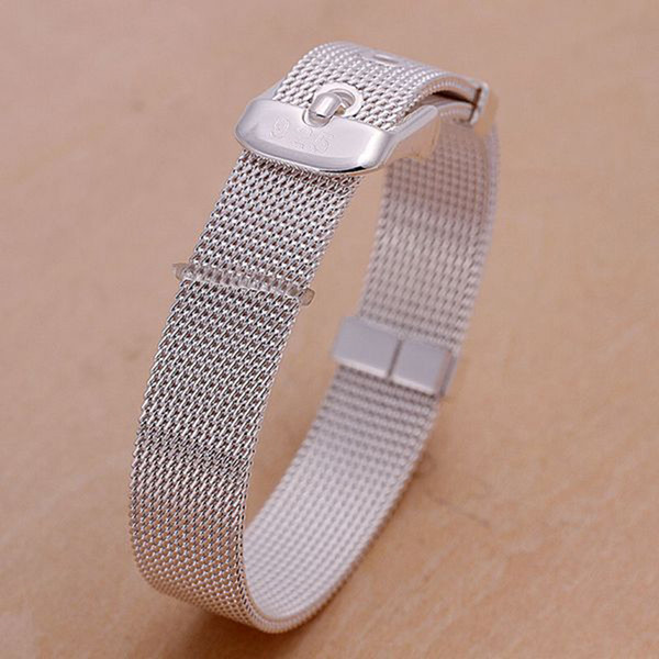 Fine 925 Sterling Silver Bracelet for Women Men,Fashion 925 Silver Wrist Watch Chain 8inch Bracelet Italy New Arrival Xmas Best Gfit AH06