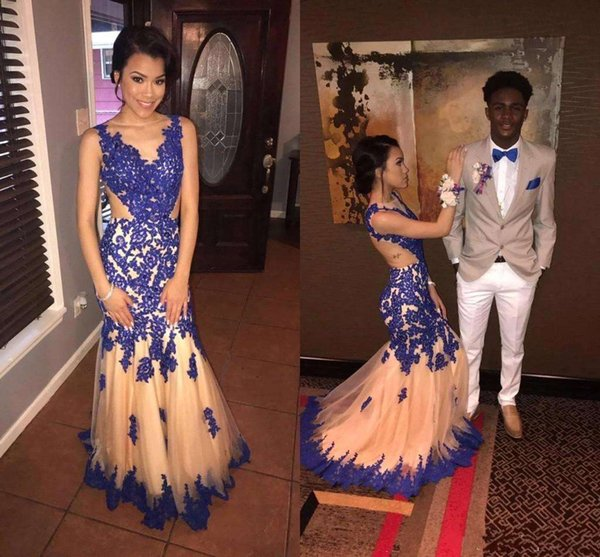 2018 African Girls Royal Blue Sheer Jewel Mermaid Prom Dresses Lace Appliques Cut Out Backless Cutaway Sides Women Pageant Evening Gowns