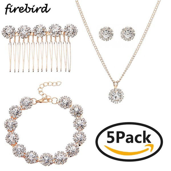 5pcs Luxury Crystal Wedding Jewelry Set Rose Gold Color Necklace Earrings Bracelet And Hair Comb Set For Women Bridal Accessory