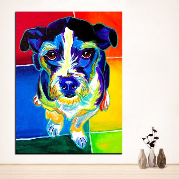 Large size Print Oil Painting jack russell Wall painting Home Decorative Wall Art Picture For Living Room paintng No Frame