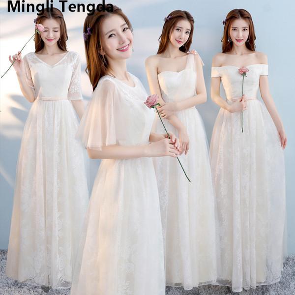 Six Style Champagne Bridesmaid Dresses Sisters Skirts Wedding Dresses Off the Shoulder Lace Bridesmaid Dress Elegant Dress 2018Mingli Tengda