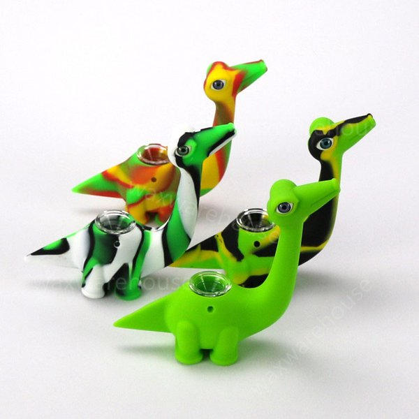 Wholesale unbreakable silicone bubbler pipe dinosaur rubber smoking pipe hidden bong 710 oil burner unique design