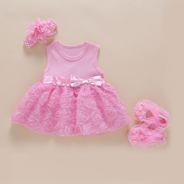 2018 Summer Baby Clothes Girls Dress Lace Cotton Floral Princess Newborn Skirt Baby Party Birthday Outfits Dress Shoes Hairband Set