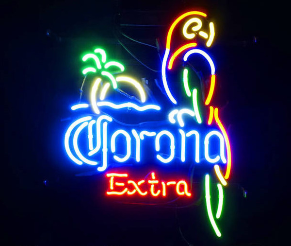 """OHANEE Custom fit 17""""x14"""" Corona Extra Parrot Bird real Glass Neon Sign Light Beer Bar Pub store Arts Crafts Gifts Lighting"""