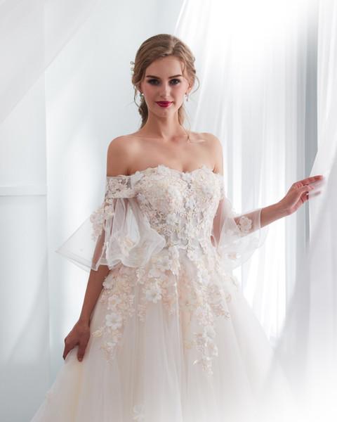 Imagen real 2018 Ruffles vestidos de boda árabes fuera del hombro con cordones en la espalda modesto cuello barco apliques 3D princesa país vestidos de novia