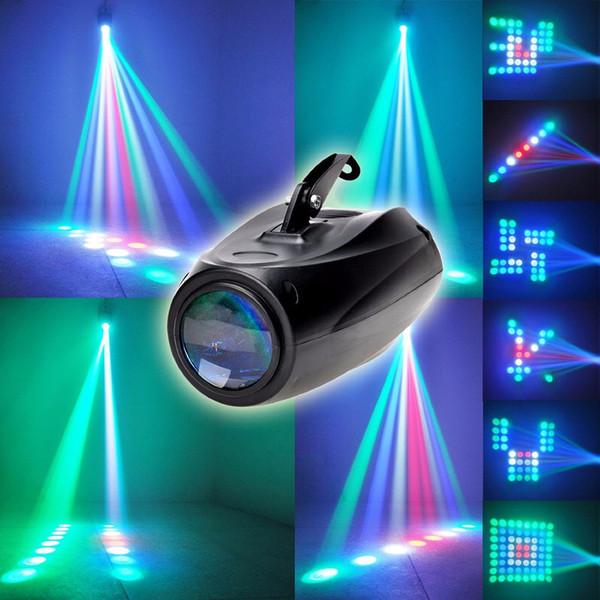 Aimkeeg AC 90-240V 10W 64 LED RGBW Modo de escenario Proyector auto activado por voz Iluminación perfecta Disco Club KTV Party Lámpara DJ
