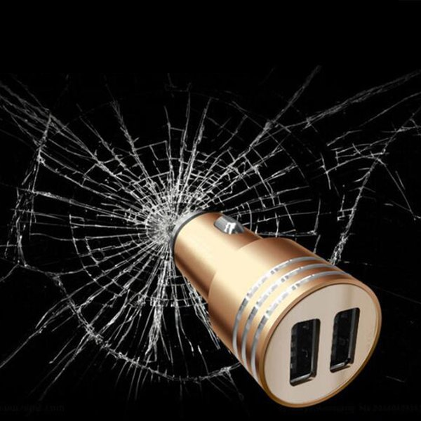3.1A dual USB car charger Round Aluminum Metal Safety Hammer Charger Adapter For Phone Ipad Digital camera Best Price