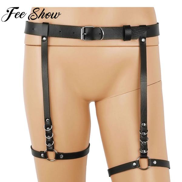 Women Fashion Punk Faux Leather Harness Belts Adjustable Goth Harajuku Leg Harness Bondage Belts with O-ring leg