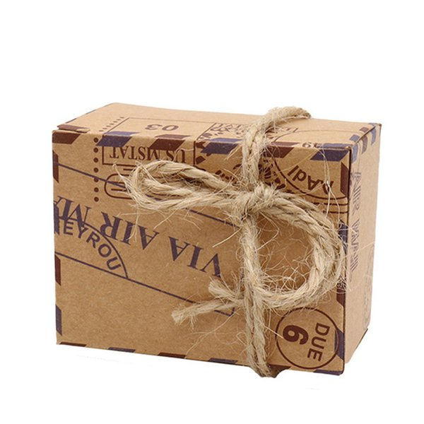 50 pcs Stamp Design Wedding Vintage Candy Box Chocolate Gift Bag Party Supplies