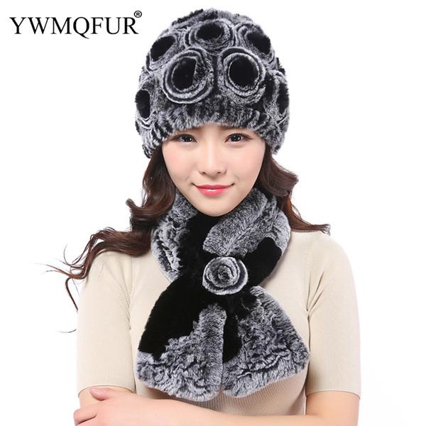 Winter Rex Rabbit Fur Scarf Hat Sets For Women Thick Warm Real Fur Female Beanies Ladies Cap Scarves Set 2018 Hot Sale YWMQFUR
