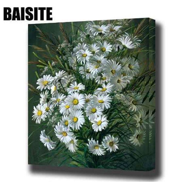 BAISITE DIY Tarafından Çerçeveli Yağlıboya Numaraları Çiçekler Resimleri Oturma Odası Duvar Sanatı Ev Dekor Için Tuval Boyama E806