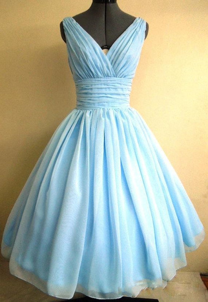 Light Sky Blue 1950s Cocktail Party Dress Vintage Tea Length Plus Size Chiffon Ruched V-neck Women Short Ball Gown Prom Gowns Custom Made