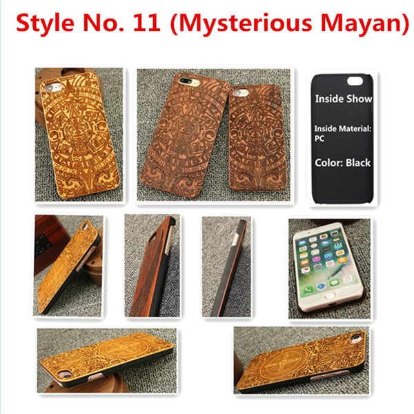 Style No. 11 (Mysterious Mayan) Real Genuine Natural Wood Wooden Bamboo Rear Back Cover Cases for iPhone X 8 7 6S 6 Plus 5 5S SE Inside