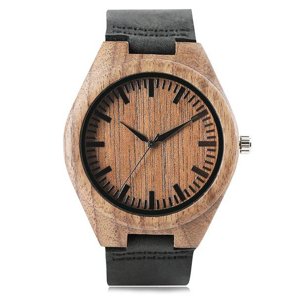Brown-Farben-Natur-hölzerne Kasten-handgemachte Armbanduhr-Frauen-Bambus-echtes Leder-Band-kreatives Uhren-Art- und Weisequarz-Uhr-bestes Geschenk