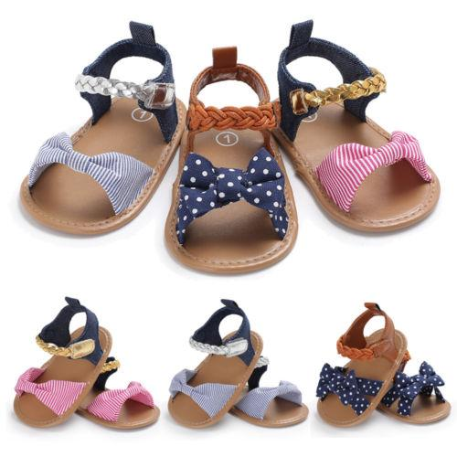 2018 Brand New Lovely Toddler Kids Baby Girls Bow Summer Princess Shoes Canvas Crib Shoes Prewalker Casual Cotton 0-18M