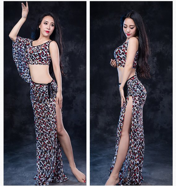 New Girls Belly Dance Perspective Single Batwing Sleeve Cut out Dress Suit Performance Competition Practice Costume for Belly Rumba Outfit