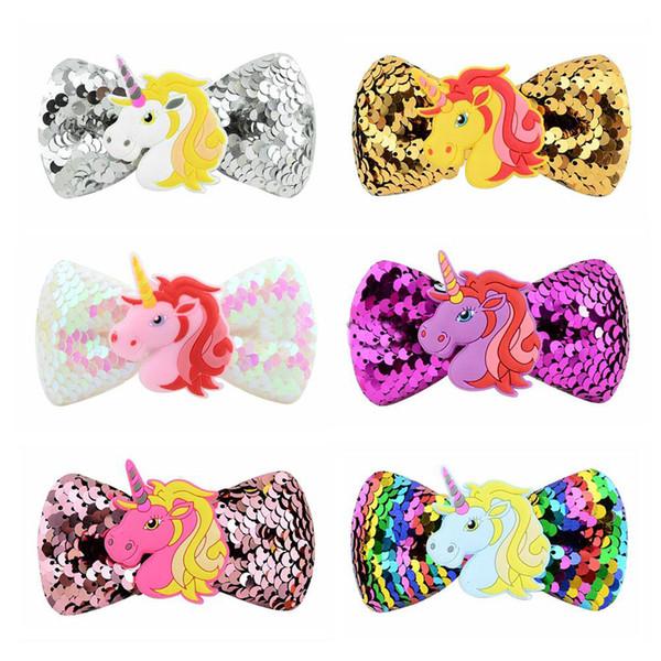 Archi per capelli per bambini unicorno Paillettes Tornante per bambina Accessori per capelli Accessori per capelli cartoni animati per bambini Arco Barrettes 6 colori