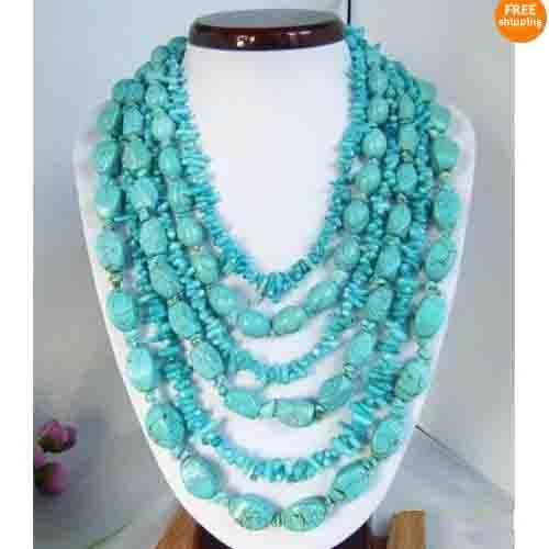 6rows blau Türkis Halskette Ohrring mischt Größe Türkis Mode Frau Schmuck Kostenloser Versand