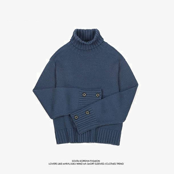Men Sweaters BTS BANGTANG BOYS Jungkook Same Style Sweater Turtle Neck Coarse Wool Solid Navy Casual Autumn Winter Pullovers