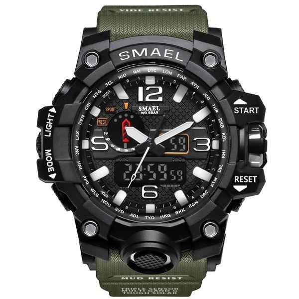 SMAEL 1545 movimientos de doble par de fantasía digital de los deportes del reloj luminoso 50m temporizador impermeable semana de alarma multifuncional ver deportes al aire libre