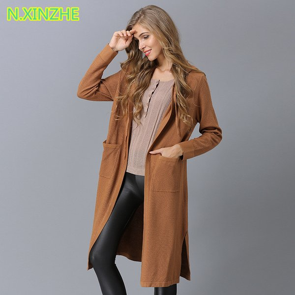 2018 women clothing long sleeve hooded pockets split solid long sweater knitted Tops Female fashion casual loose cardigans coat