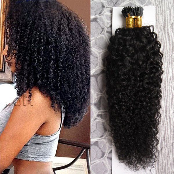 Natural color afro kinky curly hair 100g human pre bonded fu ion hair i tip tick keratin double drawn remy hair exten ion
