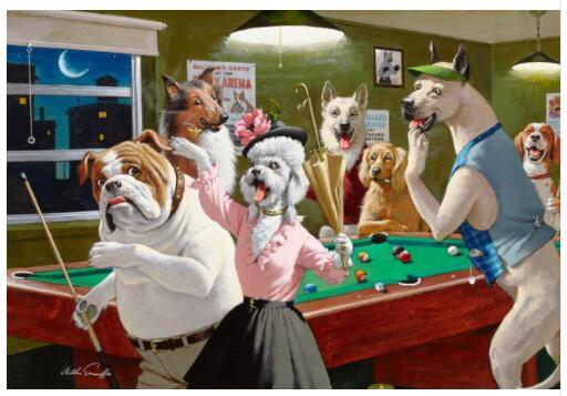 (Free Shipping) Home Decor Art Wall Dogs Billiards Oil Painting Picture Printed On Canvas Decorate Gifts NO-001