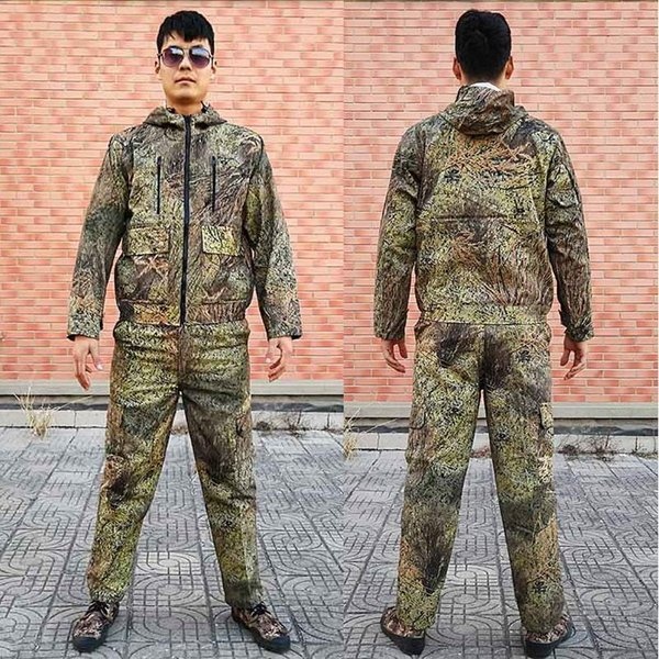 Men Hooded Jacket Pants Breathable Camouflage Grass Bush Hunting Clothing Ghillie Suit for Hunting Bird-watching Fishing Clothes