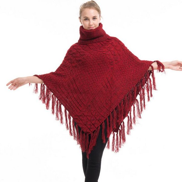 New Fashion Design Style Scarf Women Knitted Cardigan High Collar Poncho For Female Cotton Knitted Scraves Irregular Warm Winter Shawl Capes