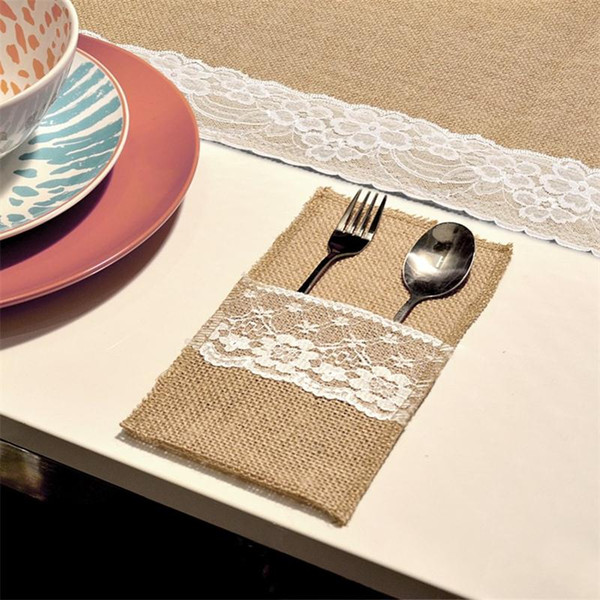 Fork Knife Burlap Holder Vintage Jute Lace Tableware Pouch for Wedding Party Decoration Fork Knife Holder Pocket