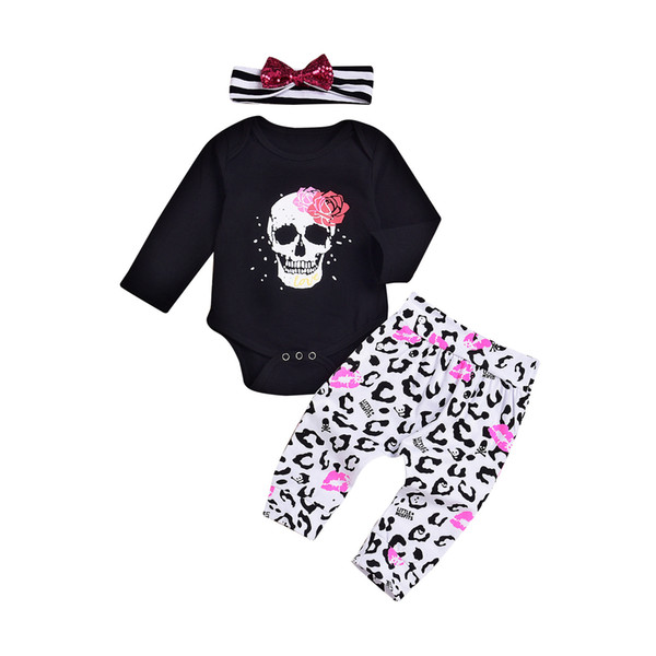 Halloween pumpkin outfits kids baby boys girls bow point print sequin headband+romper+pants 3pcs/set children cotton suits