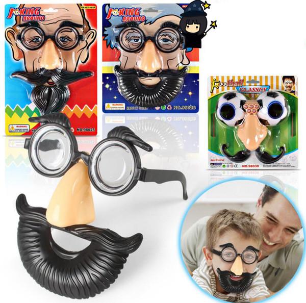 3styles Halloween beard glasses Funny mask Big Nose + Glasses + Mustache False Nose Costume Toys Halloween Day Gift FFA806 500pcs