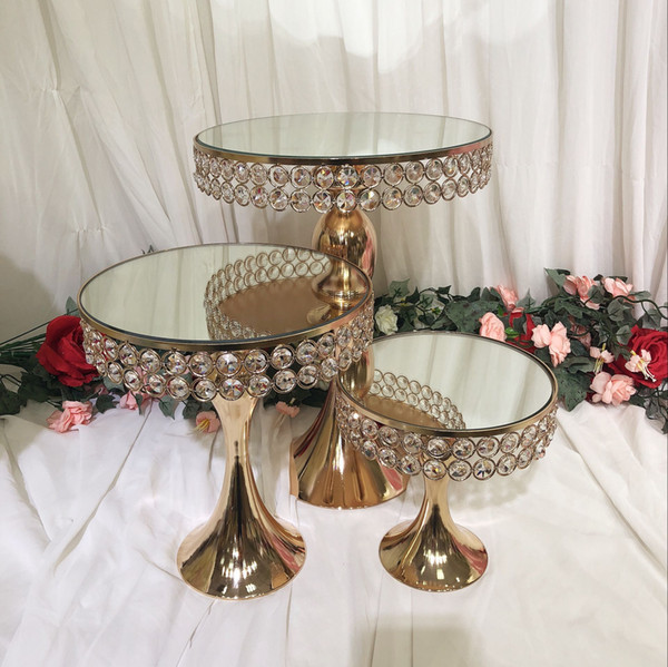 luxury crystal wedding tall mirror cake centerpieces display stand holder fondant macaron cupcake table candybar table cake decorating