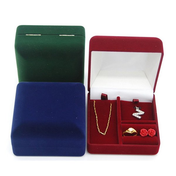 Square Jewelry Set Gift Box Flocked Velvet Jewellery Ring Earring Pendant Charm Necklace Packaging Boxes Green Red Blue