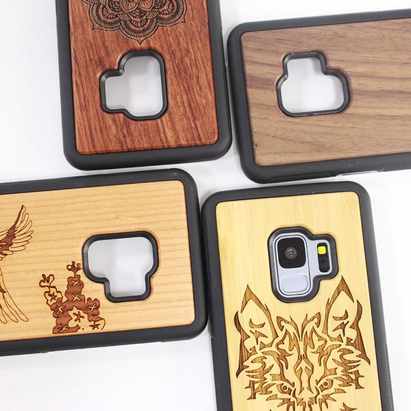 Tampa personalizada da caixa do telefone para a caixa traseira de madeira de Samsung S9 a madeira real de 100% TPU para a caixa da madeira de Samsung S9