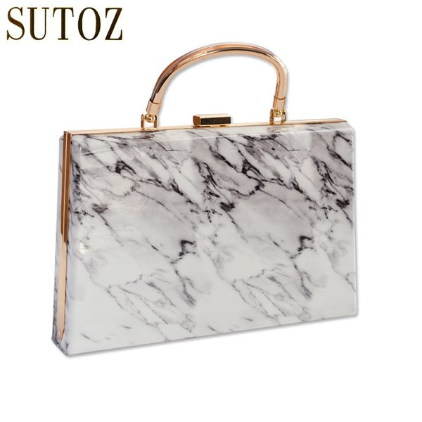 Vintage Marble Stone Pattern Women's Handbags Acrylic Chain Evening Bags for Lady Luxury Design Pouch Messenger Party Bag BA428 Y18103004