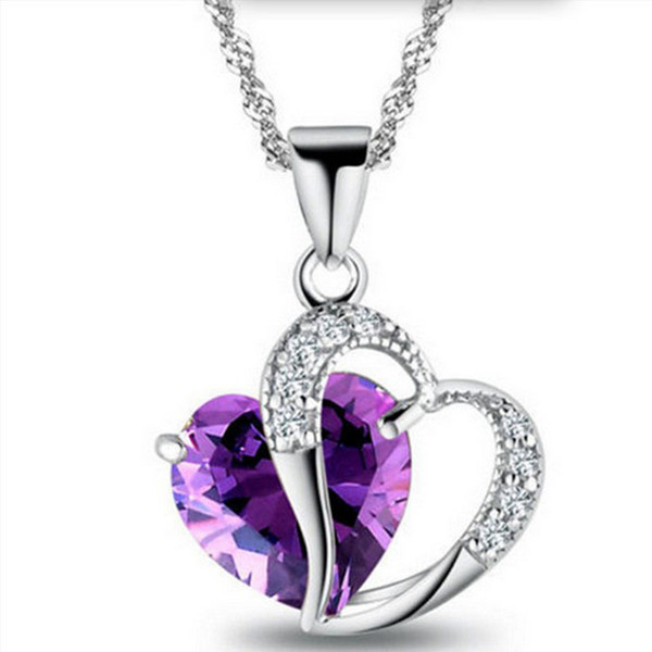 best selling Fashion Purple Jewelry 10 Colors Womens Crystal Heart Zircon Necklace Chain Ladies Statement Pendant Love Jewelry